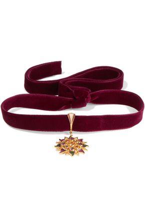 PERCOSSI PAPI Velvet and gold-plated multi-stone choker