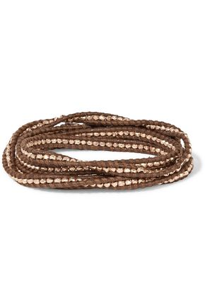 CHAN LUU 18-Karat rose gold-plated beaded leather bracelet