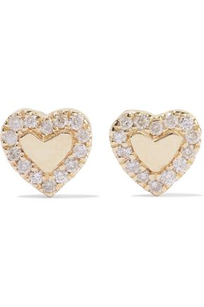 CARBON & HYDE Heart 14-karat gold diamond earrings