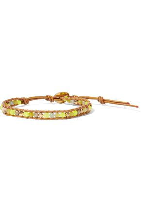 CHAN LUU 18-karat gold-plated sterling silver, leather and beaded stone bracelet