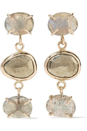 MELISSA JOY MANNING 14-karat gold, labradorite and pyrite earrings