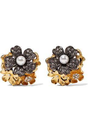 ELIZABETH COLE Lila Grace gunmetal and 24-karat gold-plated, faux pearl and Swarovski crystal earrings
