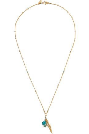 CHAN LUU 18-karat gold-plated sterling silver stone necklace