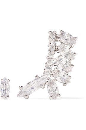 KENNETH JAY LANE Silver-plated cubic zirconia earrings