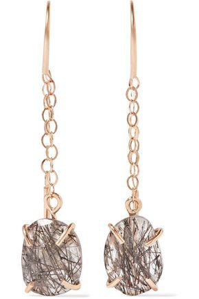 MELISSA JOY MANNING 14-karat gold tourmalated quartz earrings