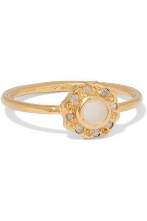 SCOSHA Wondersun gold-plated, opal and diamond ring