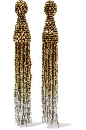 OSCAR DE LA RENTA Ombré tasseled beaded clip-on earrings