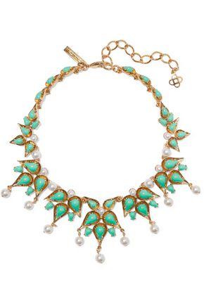 OSCAR DE LA RENTA Gold-tone cabochon and faux pearl necklace