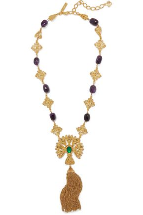 OSCAR DE LA RENTA Gold-tone stone necklace