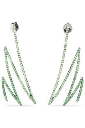KHAI KHAI Oxidized 18-karat gold tsavorite earrings
