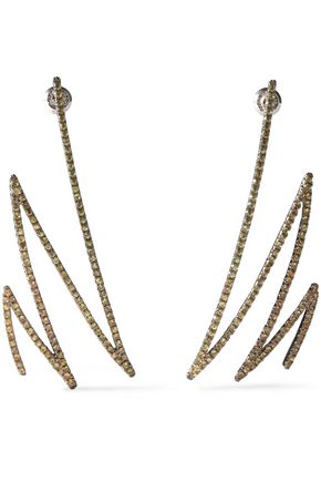 KHAI KHAI Oxidized gold-tone sapphire earrings
