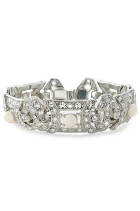 BEN-AMUN Silver-tone, faux pearl and crystal bracelet