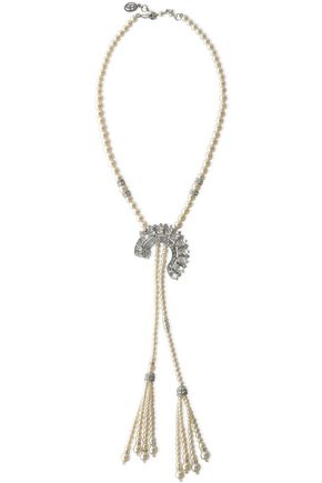 BEN-AMUN Silver-tone, faux pearl and crystal necklace