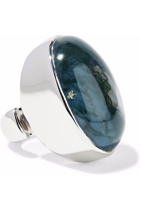 MAISON MARGIELA Silver-plated stone ring