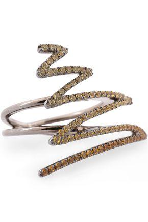 KHAI KHAI Oxidizied 18-karat gold sapphire ring
