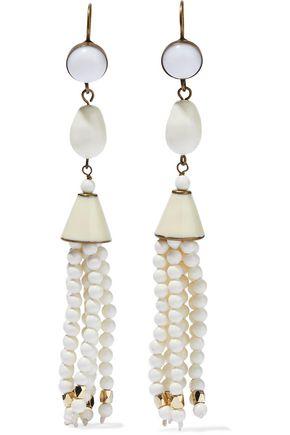 ISABEL MARANT Tasseled gold-tone, resin, enamel and beaded earrings