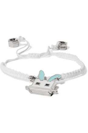 McQ Alexander McQueen Silver-tone, cord and enamel bracelet