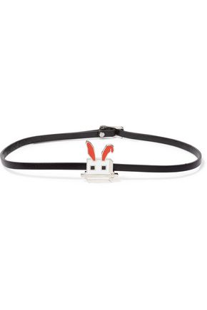 McQ Alexander McQueen Leather, silver-tone and enamel bracelet
