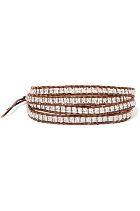 CHAN LUU Leather, cord and beaded stone wrap bracelet