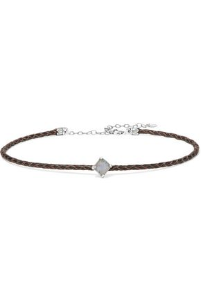 CHAN LUU Braided leather, silver-tone and stone choker