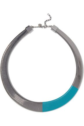 MM6 MAISON MARGIELA Gunmetal-tone enamel necklace