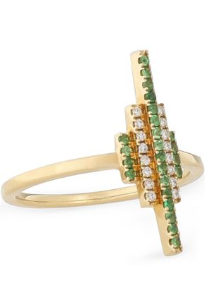 KHAI KHAI 18-karat gold diamond and crystal ring