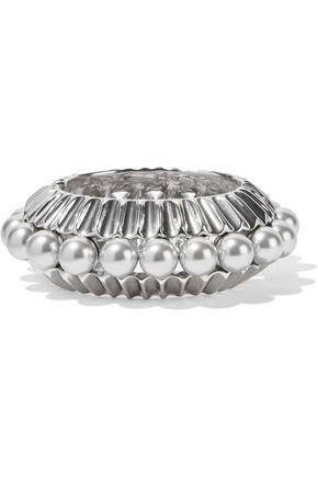 OSCAR DE LA RENTA Silver-tone, faux pearl bracelet