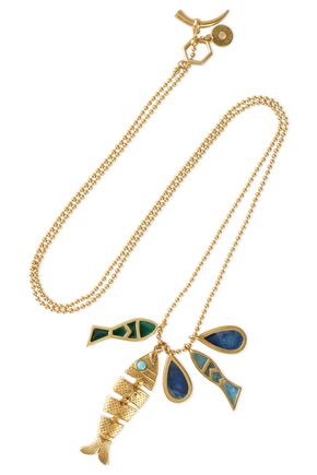 TORY BURCH Gold-tone, resin and enamel necklace