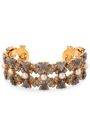ELIZABETH COLE Gold-tone multi-stone cuff