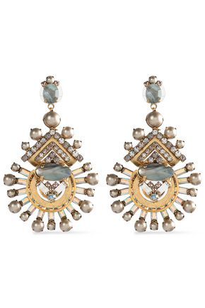 ELIZABETH COLE Gold-tone faux-pearl, crystal and stone earrings