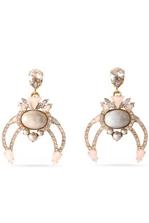 ELIZABETH COLE Gold-tone multi-stone and crystal earrings