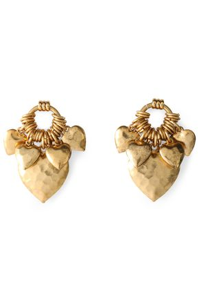 ELIZABETH COLE Hammered gold-tone earrings