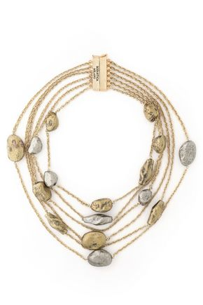 ROSANTICA Fringed gold and silver-tone necklace
