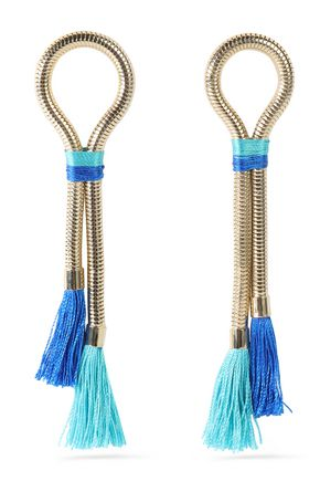 ROSANTICA Tasseled gold-tone and cord earrings