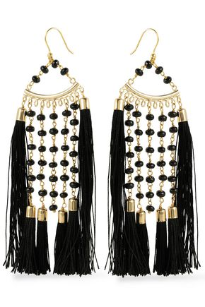 ROSANTICA Tasseled beaded gold-tone earrings