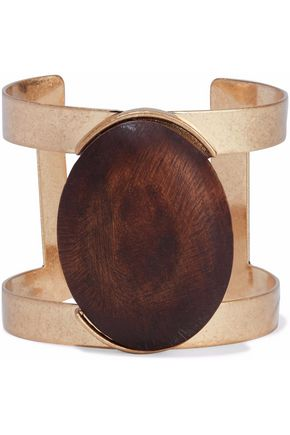 KENNETH JAY LANE Gold-tone wood cuff
