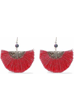 KENNETH JAY LANE Gold-tone fringed earrings