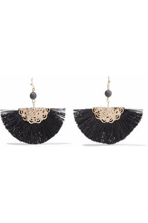 KENNETH JAY LANE Gold-tone fringed bead earrings