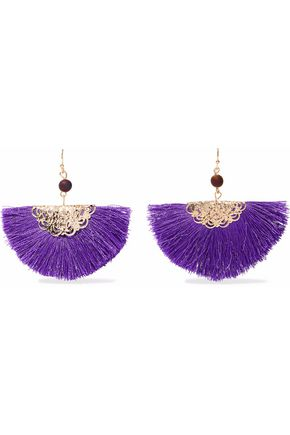 KENNETH JAY LANE Gold-tone, fringed cord and bead earrings