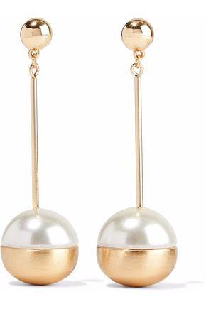 KENNETH JAY LANE Gold-tone faux mother-of-pearl earrings