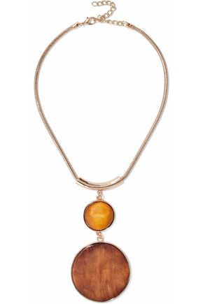 KENNETH JAY LANE Gold-tone and wood necklace