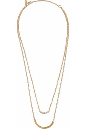 ELIZABETH AND JAMES Gold-tone crystal necklace