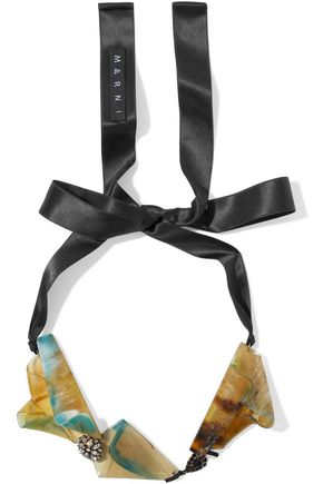MARNI Satin, horn and crystal necklace