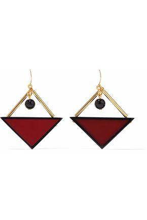 MARNI Gold-tone, bead and resin earrings