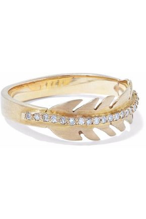 ILEANA MAKRI Baby Eagle Feather 18-karat gold diamond ring