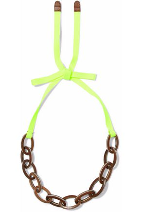 MARNI Neon canvas, wood and enamel necklace