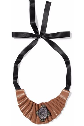 MARNI Satin, coated faux leather and stone necklace