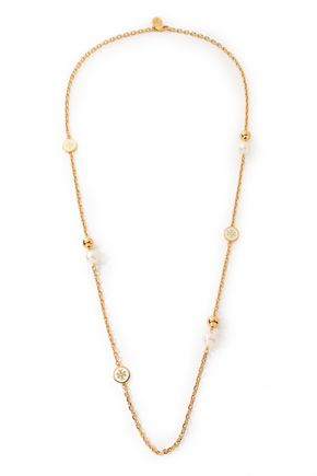 TORY BURCH Gold-tone faux pearl necklace