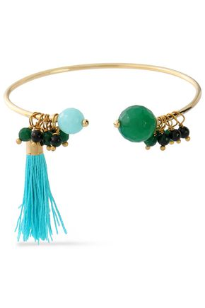 ROSANTICA Gold-tone bead and tassel cuff