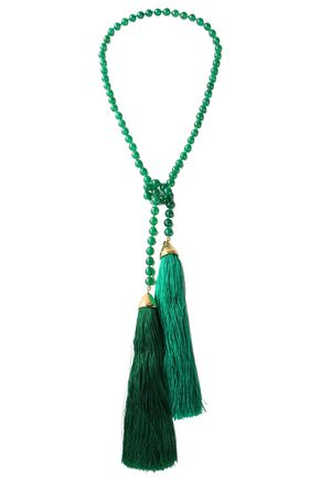 ROSANTICA Tasseled beaded gold-tone necklace